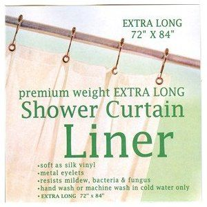 Extra Long Premium Weight Vinyl Shower Curtain Liner Clear