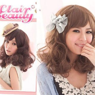 Clair Beauty Womens Fluffy Short Medium Curly Full Hair Wig Cap S0175