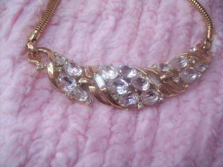 Vintage TRIFARI Rhinestone Choker Necklace Goldtone Excellent