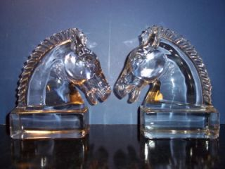 PAIR (TWO) HEISEY GLASS CLEAR CRYSTAL HORSE HEAD BOOKENDS 1937 55