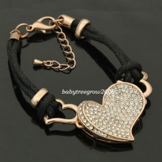 Rose Gold GP Swarovski Crystal Heart Shape Fabric Bracelet B131