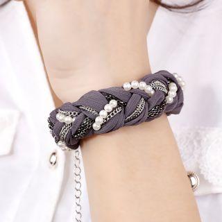 Faux Pearl Black Silver Chain Fabric Ribbon Mix Bangle Bracelet