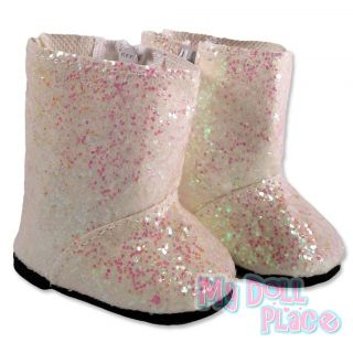 Doll clothes fit American Girl * White and Pink Glitter Boots Shoes