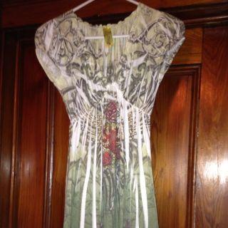 PRESS APPAREL Clothing USA MADE Green Ivory PRINT Dress TOP NEW SZ