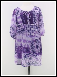 Zunie s Size 7 8 Purple Chiffon Layered Peasant Boho Girls