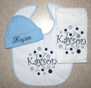 Personalized Baby Bib Burp Cloth Hat Set Embroidered PD