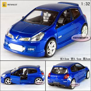 New Renault Clio 1 32 Alloy Diecast Model Car with Sound Light Blue