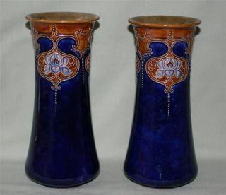 of Doulton Lambeth Art Nouveau Vases by Christine Abbot C 1905