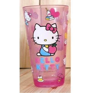 clear pink plastic cup large cute hello kitty clear pink plastic cup