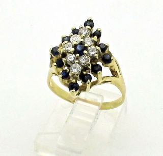 14k Yellow Gold Sapphire and Diamonds Cluster Ring