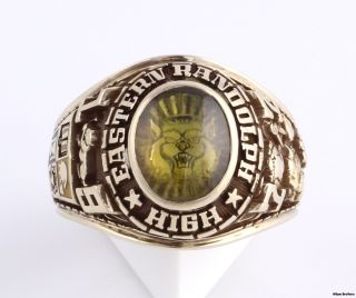 Mens Eastern Randolph High School Class Ring   10k Gold 15.5g Stone
