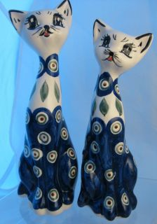 Set of 2 Polish Pottery Classic Peacock Cat Statues Figurines Blue