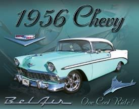 Classic Car Tin Sign 56 Chevy Belair Chevrolet Antique 1950s Collector