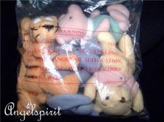 Disney Winnie The Pooh Classic Set Stuffed Plush Beanbag Doll Nursery