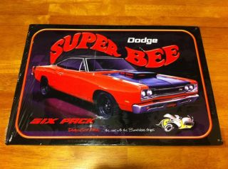 VINTAGE AUTO TRUCK DODGE CORONET SUPER BEE TIN SIGN MOPAR PLYMOUTH