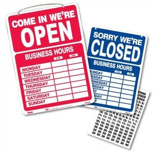 OPEN CLOSED BUSINESS HOURS SIGN 10 x 14 w Numbers Chain & Suction Cup
