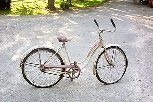 Vintage Schwinn Bike Womans Pink White 1952 Fiesta Schwinn Bicycle