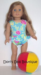 DOLL CLOTHES FITS AMERICAN GIRL BLUE FLORAL PRINT 1 PC SWIMSUIT BEACH
