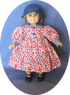 For American Girl Doll Clothes DRESS & Matching Crocheted Hat 18 doll