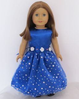 1pcs Doll Clothes Blue Princess Dress FOR18 American Girl New