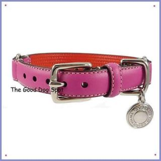 COACH ~ MAGENTA PINK Striped Leather Dog Collar ~ Small