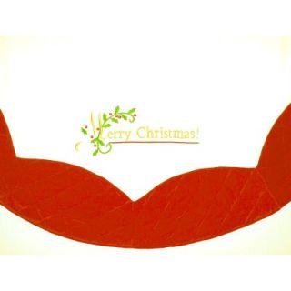 56 White Merry Christmas Tree Skirt with Burgundy Border