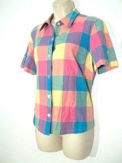 Sz M Medium Christopher Banks bright plaid pink green purple top shirt