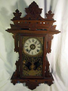 Antique 1880s E N Welch Claxton Walnut Wall Clock w Alarm