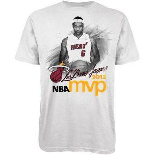 Adidas Lebron James Miami Heat 2012 NBA MVP T Shirt White