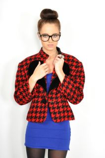 80s Red + Black MOSCHINO HEART HOUNDSTOOTH Knit Blazer JACKET Coat S/M