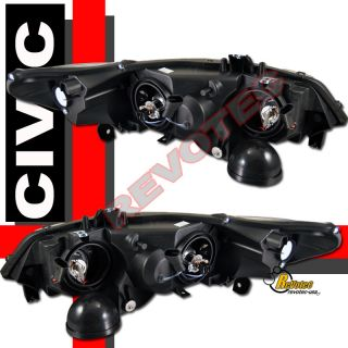 CIVIC 2DR COUPE CCFL HALO PROJECTOR HEADLIGHTS & LED TAIL LIGHTS RED