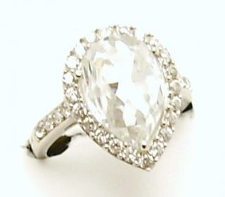 Heavyweight Silver Pear Shaped CZ Cluster Engagement Ring