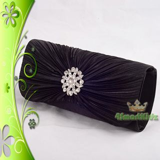 Black Satin Evening Flap Clutch Handbag Bag Purse Wedding Bridal Party