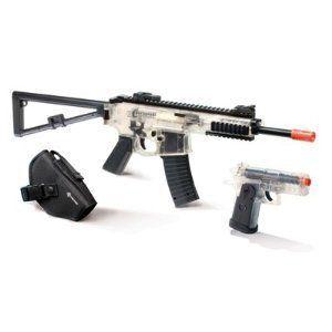 to Play Airsoft 2 Gun Kit Stinger R 39 Stinger P 36 Clear Black