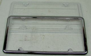 Chrome Metal License Plate Frame w Plastic Protective Clear Shield Bug