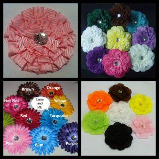 Flowers + Crochet Headband Boutique Hair Bows Alligator Clips Girls