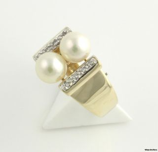 8mm Pearl Genuine Diamond Cocktail Ring 14k Yellow White Gold Modern