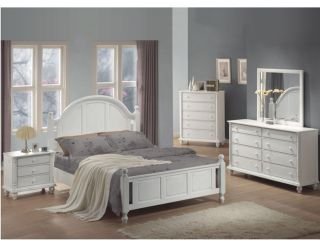 KAYLA QUEEN BEDROOM SET 5 PIECE TROPICAL WHITE FINISH HARDWOOD