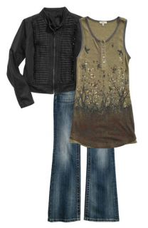 Miss Me Olive Tank & Wing Pocket Bootcut Jeans with Stella Starr Faux Leather Jacket (Big Girls)