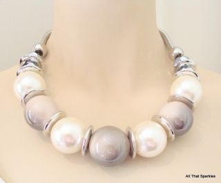Big Bold Chunky Faux Pearl Bead Fashion Necklace