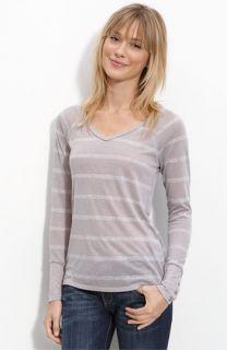 Lush Heather Striped V Neck Long Sleeved Tee (Juniors)