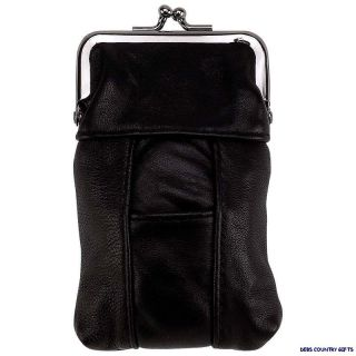 Cigarette Case Leather Black with Lighter Pouch and Clip Top Regular