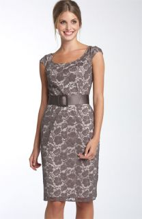Adrianna Papell Belted Lace Sheath Dress