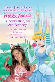 Disney Princess Cinderella Birthday Party Photo Invitation