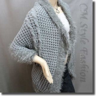 Fluffy Pockets Knit Cocoon Shrug Cardigan Sweater Top Gray M~L