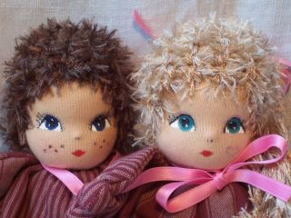 German Artist Made Cloth Pixie Elf Waldorf Style Dolls Contrasting