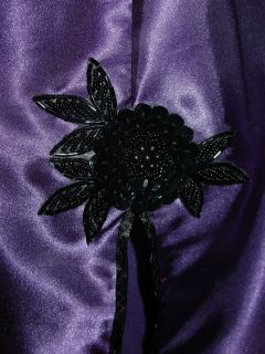 Purple Satin Half Slip Black Sequin Floral Cluter Slit on Back 29 56