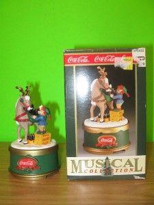 New 1994 Coca Cola Coke Music Box Collection Santas Refreshment