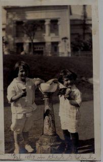 Circa 1915 Two Little Girls Ice Cream Cones Snapshot