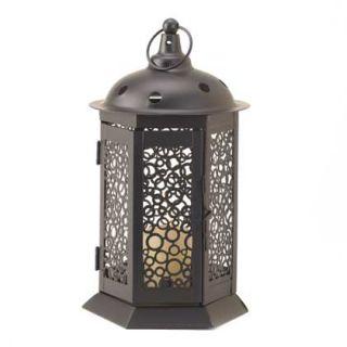 Black Circle Cutout Metal & Glass Candle Holder Light Lantern